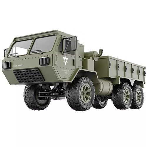 Nagy méretű, realisztikus Fayee U.S. Army P801 HEMTT katonai távirányításos teherautó - 6 kerék meghajtás, LED világítás. - zöld