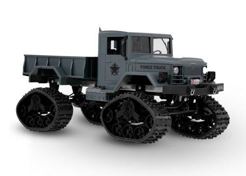 Fayee FY001B amerikai távirányításos katonai teherautó a JJ/RC-től - terepjáró, 4 kerék hajtás, fém alváz, 34cm hossz, LED fényszórók - szürke