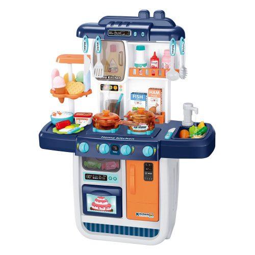 Kék-fehér színű játékkonyha szett színváltós ételekkel, vízfolyós csappal és kiegészítőkkel