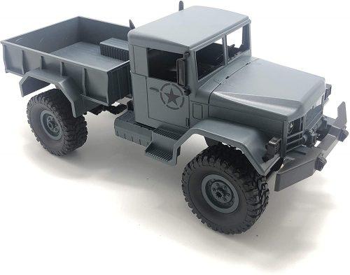 M35-A2 amerikai távirányításos katonai teherautó a JJ/RC-től - terepjáró, 4 kerék hajtás, fém alváz, 34cm hossz, LED fényszórók - szürke