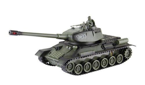 Orosz T34 távirányítós modell Tank: 330 mm hossz, infravörös tüzelés egymás ellen + realisztikus hanghatás!